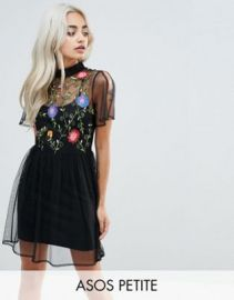 ASOS PETITE Mesh Mini Smock Dress with Floral Embroidery with Split Sleeve at asos com at Asos