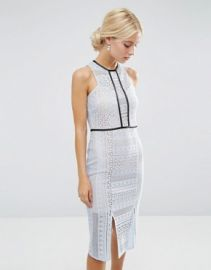ASOS Pencil Dress in Lace with Tipping at asos com at Asos