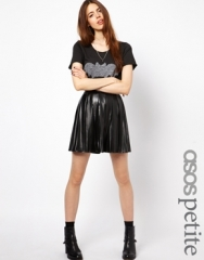 ASOS Petite  ASOS PETITE Exclusive Pleated Skater Skirt In Leather Look at Asos