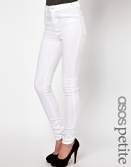 ASOS Petite  ASOS PETITE Ridley Supersoft High Waisted Ultra Skinny Jeans in White at Asos