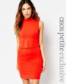 ASOS Petite  ASOS PETITE Sleeveless Crop Top Bodycon Dress with Turtle Neck in Red at Asos