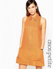 ASOS Petite  ASOS PETITE Sleeveless Zip Through Shirt Dress in Rust at Asos