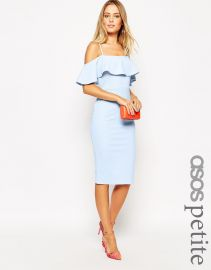 ASOS Petite  ASOS PETITE Textured Frill Midi Bodycon in Blue at Asos