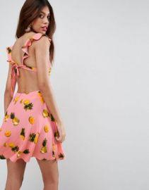 ASOS Pineapple Ruffle Tie Back Skater Mini Dress at asos com at Asos
