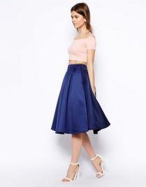 ASOS Premium Prom Midi Skirt In Bonded Satin at asos com at Asos