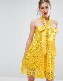 ASOS SALON Aline Lace Mini Dress with Bow Detail at asos com at Asos