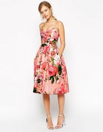 ASOS SALON Rose Print Bandeau Midi Prom Dress in pink at Asos