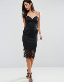 ASOS Scuba Deep Plunge Midi Bodycon Dress with Lace Hem at asos com at Asos