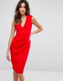 ASOS Sleeveless Midi Dress with Shoulder Pads at asos com at Asos