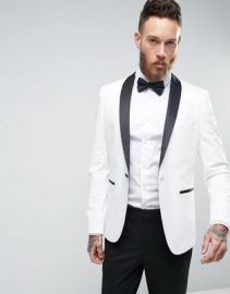 ASOS Slim Tuxedo Suit Jacket In White With Contrast Lapel at asos com at Asos