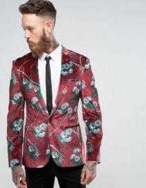 ASOS Super Skinny Blazer In Burgundy Velvet With Blue Floral Print at asos com at Asos