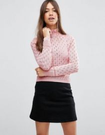 ASOS Sweater In Pointelle With Ruffle Neck Detail at asos com at Asos