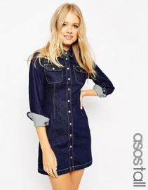 ASOS TALL Denim Western A-Line Shirt Dress in Indigo at asos com at Asos