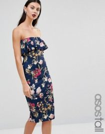 ASOS TALL Ruffle Print Bandeau Midi Dress at asos com at Asos