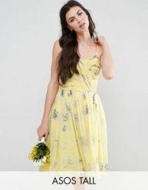 ASOS TALL WEDDING Rouched Midi Dress in Sunshine Floral Print at asos com at Asos