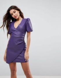 ASOS V Neck Mini PU Dress at asos com at Asos