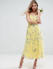 ASOS WEDDING Rouched Midi Dress in Sunshine Floral Print at asos com at Asos