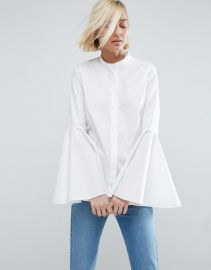 ASOS WHITE Shirt With Bell Sleeve at ASOS