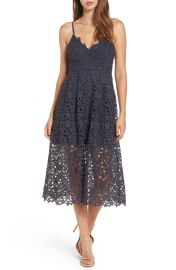 ASTR the Label Lace Midi Dress Navy at Nordstrom