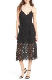 ASTR the Label Lace Midi Dress in Black at Nordstrom