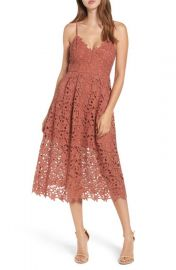 ASTR the Label Lace Midi Dress in Coral at Nordstrom