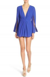 ASTR Deep V-Neck Pleated Front Romper at Nordstrom