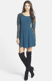ASTR Lace Sleeve Dress at Nordstrom