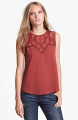 ASTR Lace Yoke Top in orange at Nordstrom