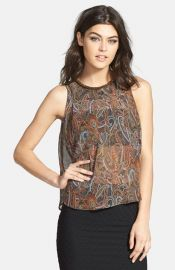 ASTR Print Embellished Neck Tank at Nordstrom