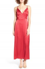 ASTR Satin Wrap Maxi Dress at Nordstrom