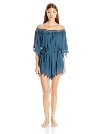 ASTR Seville Off Shoulder Eyelet Romper at Amazon