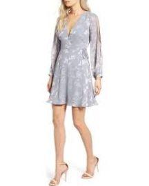 ASTR the Label Burnout Wrap Dress grey at Nordstrom