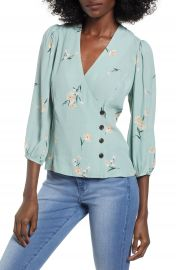 ASTR the Label Button Wrap Top at Nordstrom