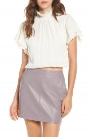 ASTR the Label Smocked Neck Crop Top at Nordstrom