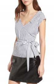 ASTR the Label Stripe Wrap Top at Nordstrom