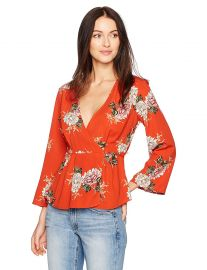 ASTR the label Women s Wrap Front Long Sleeve Floral Print Top at Amazon