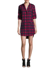 ATM Anthony Thomas Melillo Long-Sleeve Flannel Plaid Shirtdress  Red Blue at Neiman Marcus