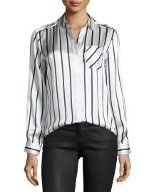 ATM Anthony Thomas Melillo Long-Sleeve Striped Silk Charmeuse Blouse  Silver Midnight White at Neiman Marcus