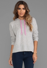 AUTUMN CASHMERE Honeycomb Stitch Hoodie in Fog and Shock at Revolve