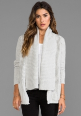 AUTUMN CASHMERE Textured Drape Cardigan with Pockets in Frost at Revolve