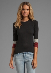 AUTUMN CASHMERE Tissue Cashmere Crew With Color Block Sleeves in BlackSiennaBirch at Revolve