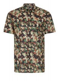 Abstract Camouflage Short Sleeve Casual Shirt at Topman