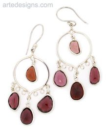 Abstract Garnet Chandelier Earrings at Arte Designs