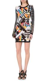 Abstract navajo print dress at Balmain