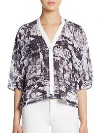 Abstract print boxy top by Helmut Lang at Saks Off 5th