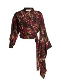 Abstract-print crepe de Chine wrap top at Matches
