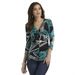 Abstract print ruched knot top at K Mart