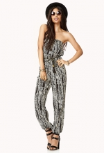 Abstract print strapless jumpsuit at Forever 21