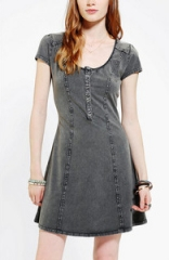 Acid Wash Henley Dress at Urban Outfitters