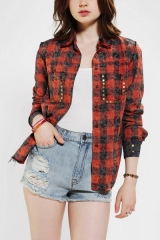 Acid wash plaid shirt by Kill City at Urban Outfitters
